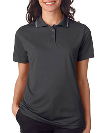 Ultraclub 8394L Women Polo With Tipped Collar at bigntallapparel