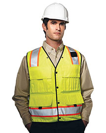 Tri-Mountain 8435 Men's 100% Polyester Water Resistant Heavy Twill Safety Vest at bigntallapparel