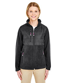 Ultraclub 8493 Women Fleece Jacket With Quilted Yoke Overlay