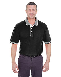 Ultraclub 8537 Men Striped Collar Polo