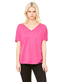 Bella 8815 Ladies' Flowy Simple V-Neck T-Shirt at bigntallapparel
