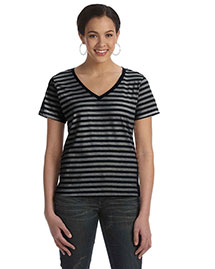 Anvil 8823 Women Striped V-Neck T-Shirt