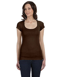 Bella B8703 Women Sheer Mini Rib Short-Sleeve Scoop Neck T-Shirt