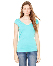 Bella B8705 Women Sheer Mini Rib Cap-Sleeve Deep V-Neck T-Shirt