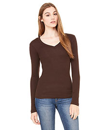 Bella B8750 Women Sheer Mini Rib Long-Sleeve V-Neck T-Shirt at bigntallapparel