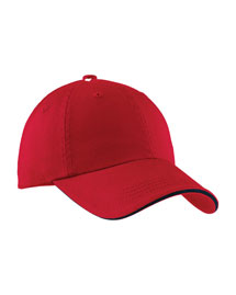Port Authority Signature C830  Sandwich Bill Cap With Striped Closure at bigntallapparel