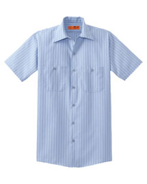 Cornerstone CS20 Men Short Sleeve Striped Industrial Work Shirt at bigntallapparel