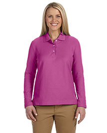 Devon & Jones D110w Women Pima Pique Long-Sleeve Polo