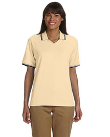 Devon & Jones D140W Ladies' Tipped Perfect Pima Interlock Polo at bigntallapparel
