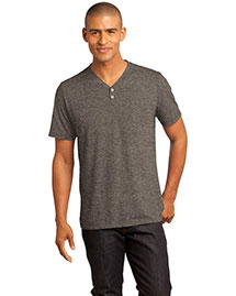 District Threads DM342 Men    Tri-Blend Short Sleeve Henley Tee