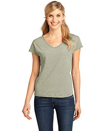District Threads Dm422 Women   Mini Stripe Dolman V-Neck Tee