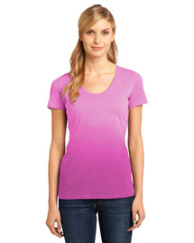 District Threads Dm4310 Women Dip Dye Rounded Deep V-Neck Tee