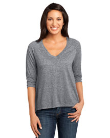 District Threads DM462 Women    Microburn  V-Neck Raglan Tee