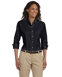 Devon & Jones Dp625w Women Three-Quarter-Sleeve Stretch Poplin Blouse