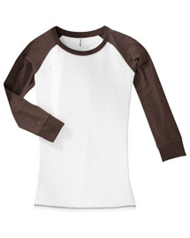 District Threads Dt226 Womenjuniors 3/4-Sleeve Cotton Raglan Tee