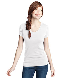 District Threads DT234V Women Wo1x1 Rib V-Neck Tee