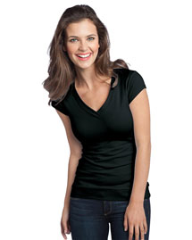 District Threads Dt247 Women Cotton/Spandex Banded V-Neck
