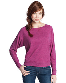 District Threads DT272 Women Textured Wide Neck Long Sleeve Raglan