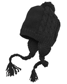 District Threads Dt617  Cabled Beanie With Pom