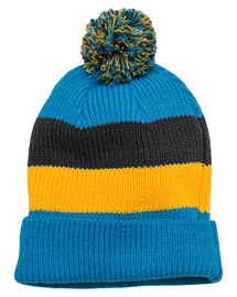 District Threads DT627  Vintage Striped Beanie With Removable Pom