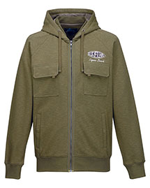 Tri-Mountain F688 Men's 60% Cotton/40% Polyester Full Zip Knit Hooded Jacket at bigntallapparel