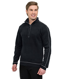 Tri-Mountain F692 Men 60% Cotton/40% Polyester 1/4 Zip Pullover With On Seam Pockets, Rib Cuff & Bottom