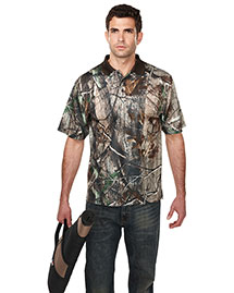 Tri-Mountain K122CG Men's Polyeater Real Tree Print Short Sleeve Shirt at bigntallapparel