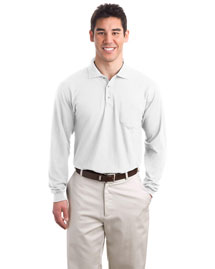 Port Authority K500LSP Mens Silk Touch Long Sleeve Polo Sport Shirt With Pocket at bigntallapparel