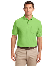 Port Authority K500P Men Silk Touch Pique Knit Polo Sport Shirt With Pocket