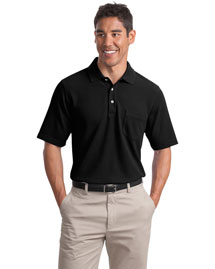 Port Authority Signature K800P Mens Ez Cotton Pique Pocket Sport Shirt at bigntallapparel