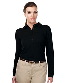 Tri-Mountain KL103LS Women 100% Polyester Knit Long Sleeve Golf Shirt