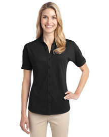 Port Authority L556 Women WoStretch Pique Buttonfront Shirt