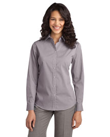 Port Authority L647 Women Fine Stripe Stretch Poplin Shirt