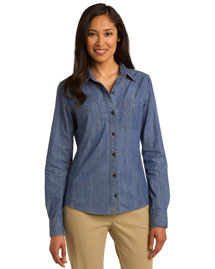 Port Authority L652 Women Chambray Shirt. L653 at bigntallapparel