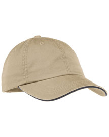 Port Authority LC830  Wosandwich Bill Cap With Striped Closure