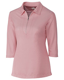 Cutter & Buck LCK08643 Women Blaine Oxford 3/4 Sleeve Zip Polo at bigntallapparel