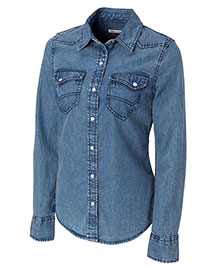 Cutter & Buck LCW04127 Women Long Sleeve Wild Card Denim Shirt at bigntallapparel