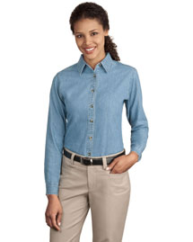 Port & Company LSP10 Ladies Long Sleeve Value Denim Shirt at bigntallapparel