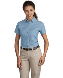 Port & Company LSP11 Ladies Short Sleeve Value Denim Shirt at bigntallapparel