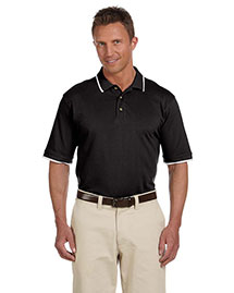 Harriton M210 Men 6 Oz Short Sleeve Pique Polo With Tipping