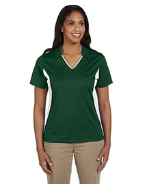 Harriton M355W Ladies' Side Blocked Micro-Piqué Polo at bigntallapparel