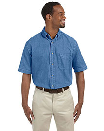 Harriton M550S Men's 6.5 Oz Short Sleeve Denim Shirt