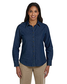 Harriton M550W Ladies' 6.5 Oz. Long-Sleeve Denim Shirt at bigntallapparel