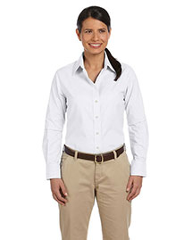 Harriton M600w Women Long-Sleeve Oxford With Stain-Release