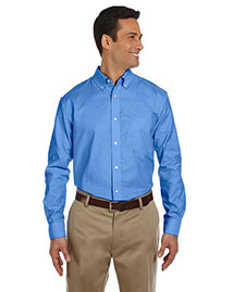 Harriton M600 Men Long Sleeve Oxford With Stain-Release at bigntallapparel
