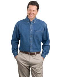 Port Authority S100 Men Heavyweight Denim Shirt at bigntallapparel