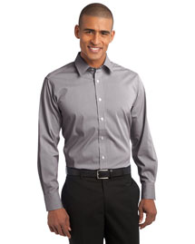 Port Authority S647 Men Fine Stripe Stretch Poplin Shirt
