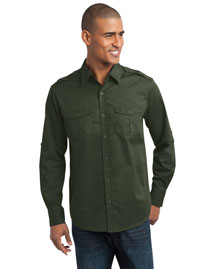 Port Authority S649 Men Stainresistant Roll Sleeve Twill Shirt