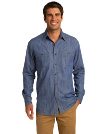 Port Authority S652 Men Denim Shirt With Patch Pockets