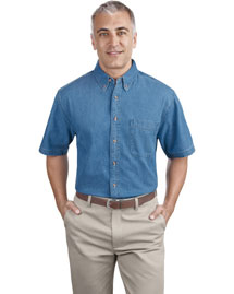 Port & Company Sp11 Men Short Sleeve Value Denim Shirt